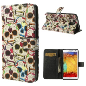 Colored Skull Heads Flip Leather Case w/ Card Slots for Samsung Galaxy Note 3 N9002