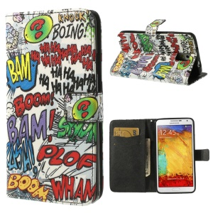 Haha Bam Boom Flip Leather Cover w/ Card Slots for Samsung Galaxy Note 3 N9000