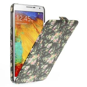 For Samsung Galaxy Note 3 N9005 Carbon Fiber Vertical Leather Case - Roses flower