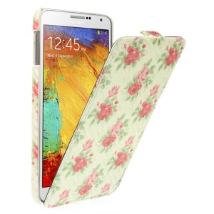 Carbon Fiber Vertical Leather Cover for Samsung Galaxy Note 3 N9002 - Blooming Roses
