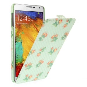 Carbon Fiber Vertical Leather Shell for Samsung Galaxy Note 3 N9000 - Pretty Flowers