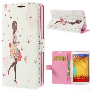 Pretty Girl & Butterflies for Samsung Galaxy Note 3 N9005 Diamond Leather Wallet Case