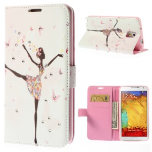 Dancing Girl & Butterflies for Samsung Galaxy Note 3 N9005 Diamond Leather Wallet Case