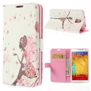 Girl with Wings & Butterflies Rhinestone Leather Wallet Cover for Samsung Galaxy Note 3 N9005