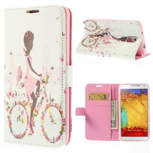 Girl Riding Bike & Butterflies Rhinestone Leather Wallet Cover for Samsung Galaxy Note 3 N9002