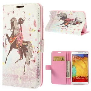 Girl Riding Horse & Butterflies Rhinestone Leather Wallet Cover for Samsung Galaxy Note 3 N9000
