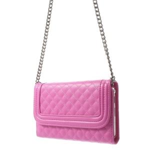 Rhombus Pattern Shoulder Bag Leather Card Holder Case for Samsung Galaxy Note 3 N9005 - Rose