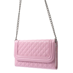Rhombus Pattern Shoulder Bag Leather Card Holder Cover for Samsung Galaxy Note 3 N9005 - Pink