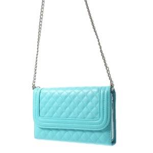 Rhombus Pattern Shoulder Bag PU Leather Case for Samsung Galaxy Note 3 N9005 - Baby Blue