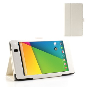 White for Asus Google Nexus 7 (2013) II 2nd Generation Crazy Horse Leather Stand Case