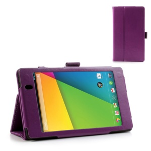 Purple for Asus Google Nexus 7 (2013) II 2nd Generation Crazy Horse Leather Stand Case