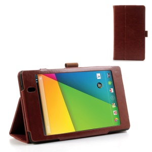 Brown for Asus Google Nexus 7 (2013) II 2nd Generation Crazy Horse Leather Stand Case