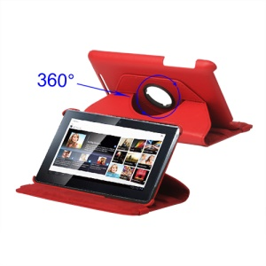 New 360 Degree Rotary Leather Case for ASUS Google Nexus 7 - Red