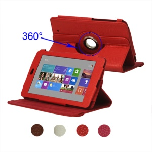 360 Degree Rotating Leather Case for ASUS Google Nexus 7 1st;Red