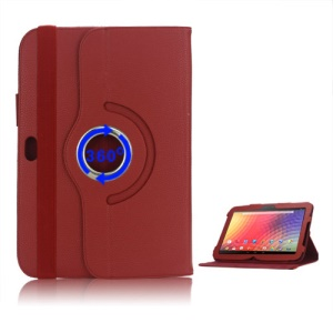 360 Degree Rotary Leather Stand Case for Samsung Google Nexus 10 - Red