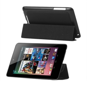 4 Fold Leather Stand Case for ASUS Google Nexus 7 - Black