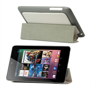 4 Fold Leather Stand Case for ASUS Google Nexus 7 - White