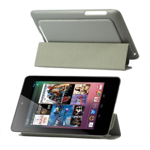 4 Fold Leather Stand Case for ASUS Google Nexus 7 - Grey