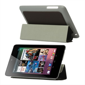 4 Fold Leather Stand Case for ASUS Google Nexus 7 - Brown