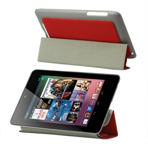 4 Fold Leather Stand Case for ASUS Google Nexus 7 - Red