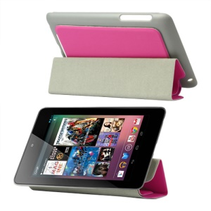 4 Fold Leather Stand Case for ASUS Google Nexus 7 - Rose