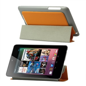 4 Fold Leather Stand Case for ASUS Google Nexus 7 - Orange