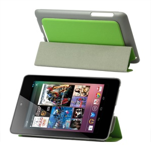 4 Fold Leather Stand Case for ASUS Google Nexus 7 - Green
