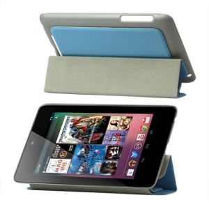 4 Fold Leather Stand Case for ASUS Google Nexus 7 - Blue