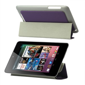 4 Fold Leather Stand Case for ASUS Google Nexus 7 - Purple