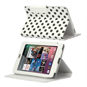 Polka Dot Leather Stand Case Cover for ASUS Google Nexus 7 - Black / White