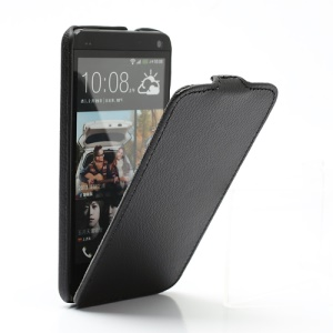 Ultra Slim Litchi Texture Vertical Leather Flip Case for HTC One M7 801e - Black
