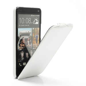 Ultra Slim Litchi Texture Vertical Leather Flip Case for HTC One M7 801e - White