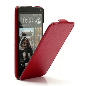 Ultra Slim Litchi Texture Vertical Leather Flip Case for HTC One M7 801e - Red