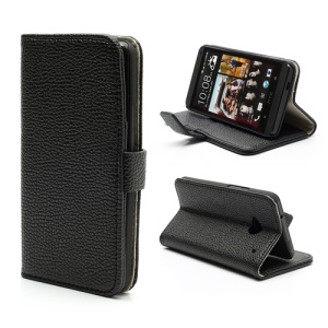 Lychee Grain Soft Leather Wallet Case Cover Stand for HTC One M7 801e - Black