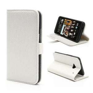 Lychee Grain Soft Leather Wallet Case with Stand for HTC One M7 801e - White