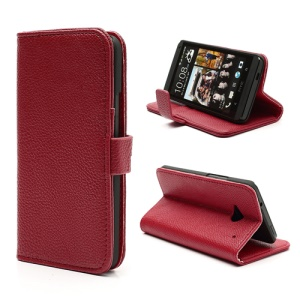 Lychee Grain Soft Leather Wallet Case with Stand for HTC One M7 801e - Red