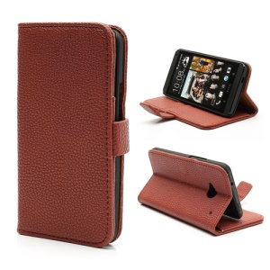 Lychee Grain Soft Leather Wallet Case with Stand for HTC One M7 801e - Brown