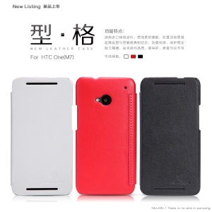 Nillkin New Series Stylish Leather Case w/ Screen Protector for HTC One M7 801e