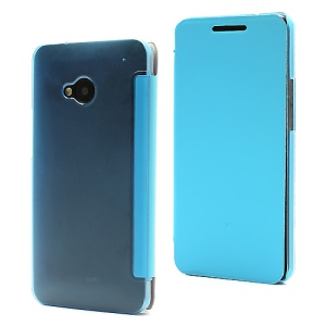 Ultra Slim Hard Plastic Case with Front Leather Flip Cover for HTC One M7 801e - Blue