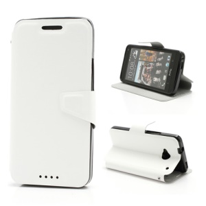 Crazy Horse Leather Magnetic Flip Case w/ Stand & Card Slot for HTC One M7 801e - White