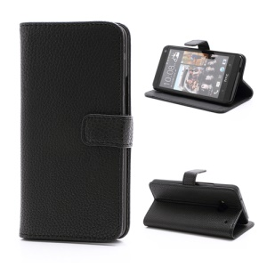 Wallet Style Leather Magnetic Flip Case Stand for HTC One M7 801e - Black