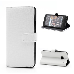 Wallet Style Leather Magnetic Flip Case Stand for HTC One M7 801e - White