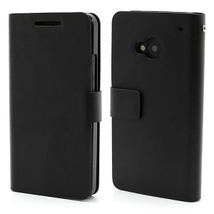 Doormoon Genuine Leather Case w/ Card Slot for HTC One M7 801e - Black