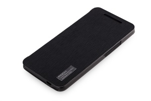ROCK Elegant Side Flip PC & Texture Leather Case Cover for HTC One M7 801e - Black