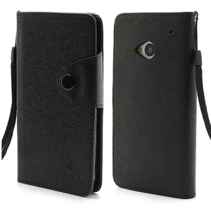 MLT Folio Leather Wallet Case Cover for HTC One M7 801e - Black