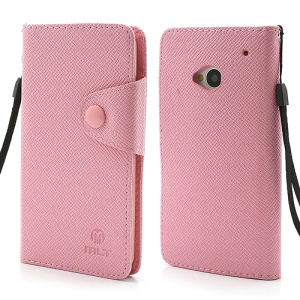 MLT Folio Leather Wallet Case Cover for HTC One M7 801e - Pink