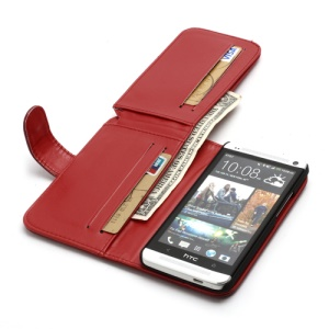 Multiple Card Slots Crazy Horse Leather Wallet Case Stand for HTC One M7 801e - Red