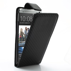 Carbon Fiber Vertical Leather Magnetic Case Cover for HTC One M7 801e