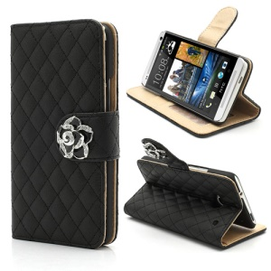 Diamond Flower Rhombus Card Slots Wallet Leather Stand Case for HTC One M7 801e - Black