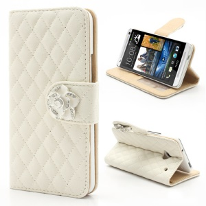 Diamond Flower Rhombus Card Slots Wallet Leather Stand Case for HTC One M7 801e - White